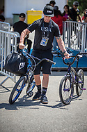 Tyler Brown (Team USA) arriving on race day at the 2018 UCI BMX World Championships in Baku, Azerbaijan.