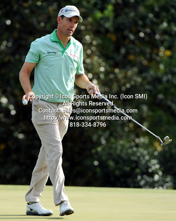 April 8, 2012 - Augusta, Georgia, U.S. - Padraig Harrington reacts after making par on the 14th green during Sunday's final round of the 2012 Masters Tournament at Augusta National Golf Club on April 8, 2012, in Augusta, Ga. (Andrew Davis Tucker / Staff