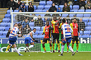 Free kick taken by Reading FC midfielder (6) Oliver Norwood during the Sky Bet Championship match between Reading and Birmingham City at the Madejski Stadium, Reading, England on 9 April 2016. Photo by Mark Davies.