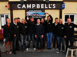 12 climbs of Croagh Patrick in 24 Hours,.A new record was set by 11 climbers on saturday last celebrating their achievement at Campbell's from left  Paul Mahon, PJ Hall, Kieran Hastings, Pat Staunton, Tony Walsh, John Gilleran, Sean Quirke, Robert Coyne, Padraig Hughes, Noel Brady and Padraig Marrey. Mary Mulchrone absent from this photo also completed 12 climbs...Pic Conor McKeown