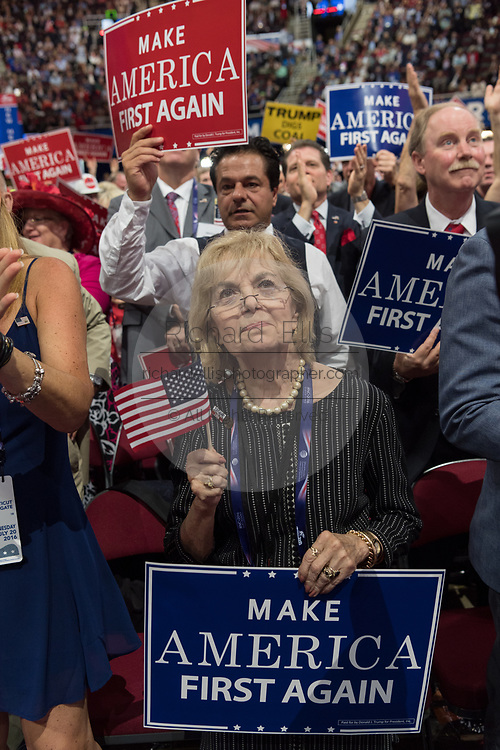 GOP delegates cheer and wave signs during the Republican National Convention July 20, 2016 in Cleveland, Ohio.