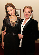 """NEW YORK - JANUARY 19:  Pianist Lola Astanova and actress Julie Andrews pose backstage before Lola's performance of """"A Tribute to Horowitz"""" presented by the American Cancer Society at Carnegie Hall on January 19, 2012 in New York City.  (Photo by Matthew Peyton/Getty Images) *** Local Caption *** Julie Andrews; Lola Astanova"""