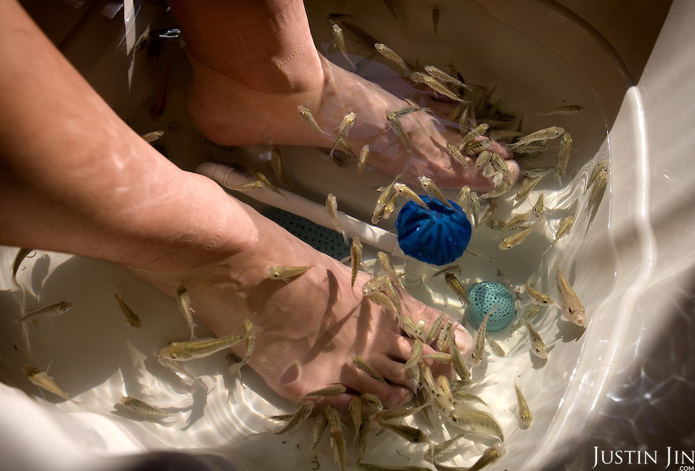"A man receives ""fish massage"" in Beijing, which is getting ready to host the 2008 Olympics. The fish feed on the dead skin of the feet."