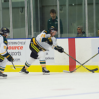 2nd year defence man Tyler Bell (24) of the Regina Cougars in action during the Men's Hockey Home Game on November 19 at Co-operators arena. Credit: Arthur Ward/Arthur Images