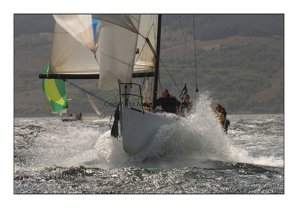 Day 2 of the Bell Lawrie Scottish Series with wild conditions on Loch Fyne for all fleets. Exhilarating and testing racing for Boats and crew...Class 2 , GBR 7031T , Sanguma.