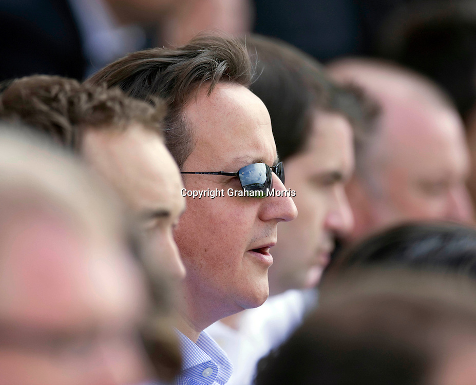 Prime Minister, David Cameron, watches the fourth and final npower Test Match between England and India at the Oval, London.  Photo: Graham Morris (Tel: +44(0)20 8969 4192 Email: sales@cricketpix.com) 19/08/11