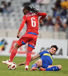 Cape Town-180804 Supersport midfieder Reneilwe Letsholonyane challenged by Cape Town City's Roland Putsche in the first game of the 2018/2019 season at Cape Town Stadium.photograph:Phando Jikelo/African News Agency/ANAr