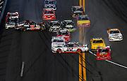 Feb 23, 2013; Daytona Beach, FL, USA; NASCAR Nationwide Series driver Brad Keselowski (22) and Regan Smith (7) crash on the last lap of the DRIVE4COPD 300 at Daytona International Speedway.