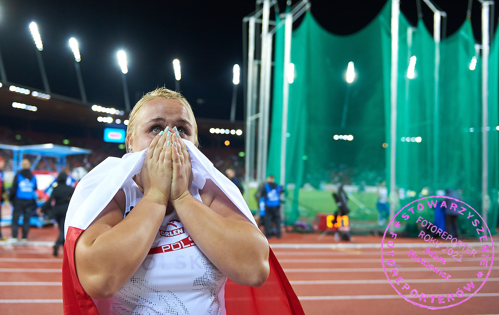 Joanna Fiodorow from Poland celebrates her bronze medal in women's hammer throw final during the Fourth Day of the European Athletics Championships Zurich 2014 at Letzigrund Stadium in Zurich, Switzerland.<br /> <br /> Switzerland, Zurich, August 15, 2014<br /> <br /> Picture also available in RAW (NEF) or TIFF format on special request.<br /> <br /> For editorial use only. Any commercial or promotional use requires permission.<br /> <br /> Photo by &copy; Adam Nurkiewicz / Mediasport