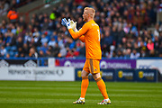 Kasper Schmeichel of Leicester City (1) in action during the Premier League match between Huddersfield Town and Leicester City at the John Smiths Stadium, Huddersfield, England on 6 April 2019.