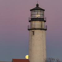Super moon rising at Cape Cod Lighthouse