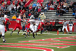 25 September 2010:  Ashton Leggett navigates the left side to score a goal on the second play of the game.  The Missouri State Bears lost to the Illinois State Redbirds 44-41 in double overtime, meeting at Hancock Stadium on the campus of Illinois State University in Normal Illinois.