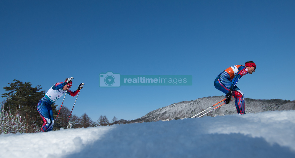 March 17, 2018 - Pyeongchang, South Korea - Jake Adicoff, left, and guide Sawyer Kesselheim during the 10km Cross Country Visually Impaired event Saturday, March 17, 2018 at the Alpensia Biathlon Center at the Pyeongchang Winter Paralympic Games. Photo by Mark Reis (Credit Image: © Mark Reis via ZUMA Wire)