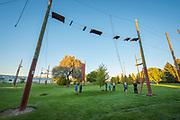 Group enjoying College of Southern Idaho Challenge Rope Course Twin Falls, Idaho.