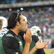 Jets quarterback Mark Sanchez on the sideline during the New York Jets V Philadelphia Eagles Pre Season NFL match at MetLife Stadium, East Rutherford, NJ, USA. 29th August 2013. Photo Tim Clayton