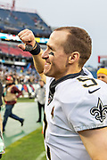 NASHVILLE, TN - DECEMBER 22:  Drew Brees #9 of the New Orleans Saints pumps a fist to fans after a game against the Tennessee Titans at Nissan Stadium on December 22, 2019 in Nashville, Tennessee. The Saints defeated the Titans 38-28.  (Photo by Wesley Hitt/Getty Images) *** Local Caption *** Drew Brees
