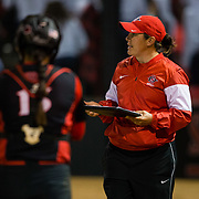 02 March 2018: San Diego State softball closes out day two of the San Diego Classic I at Aztec Softball Stadium with a night cap against CSU Northridge. San Diego State assistant coach Cristina Byrne goes over the scouting report prior to the start of the fourth inning. The Aztecs dropped a close game 2-0 to the Matadors. <br /> More game action at sdsuaztecphotos.com