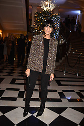 Claudia Winkleman at reception to celebrate the launch of the Claridge's Christmas Tree 2017 at Claridge's Hotel, Brook Street, London England. 28 November 2017.<br /> Photo by Dominic O'Neill/SilverHub 0203 174 1069 sales@silverhubmedia.com