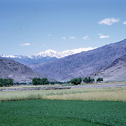 Late Summer? 1965<br /> Green fields. Settlement to right. Snowy mountains in background.
