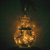 Christmas lights in a bowl