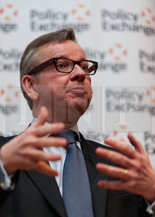 """© Licensed to London News Pictures. 16/04/2013. London, UK.   The Rt Hon Michael Gove MP speaks at the event """"Margaret Thatcher: Mother of Modernisation"""" which considers Thatcher's legacy on public services, held by the think-tank Policy Exchange.  Policy Exchange a think tank whose mission is to develop and promote new policy ideas which deliver better public services, a stronger society and a more dynamic economy.  Michael Gove is the Secretary of State for Education.  Photo credit : Richard Isaac/LNP"""