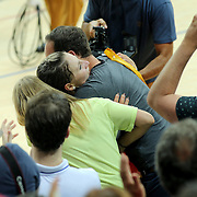 Track Cycling - Olympics: Day 11  Kristina Vogel of Germany visits family members in the stand after winning the gold medal in the Women's Sprint Final during the track cycling competition at the Rio Olympic Velodrome August 16, 2016 in Rio de Janeiro, Brazil. (Photo by Tim Clayton/Corbis via Getty Images)
