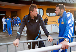 Josip Ilicic of Slovenia and Chalkias Konstantinos of Greece during friendly football match between national teams of Greece and Slovenia, on May 26, 2012 in Kufstein, Austria.   (Photo by Vid Ponikvar / Sportida.com)