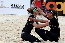 13.07.2014, Beach Village, Gstaad, SUI, FIVB Beach Volleyball Grand Slam Gstaad, im Bild Katrin Holtwick und Ilka Semmler (GER) jubeln nach dem Finalsieg // during the FIVB Beach Volleyball Grand Slam Gstaad at the Beach Village in Gstaad, Switzerland on 2014/07/13. EXPA Pictures © 2014, PhotoCredit: EXPA/ Freshfocus/ Claude Diderich<br /> <br /> *****ATTENTION - for AUT, SLO, CRO, SRB, BIH, MAZ only*****