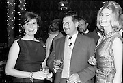 18/04/1962<br /> 04/18/1962<br /> 18 April 1962 <br /> Betty Whelan and Associates Reception at the Gresham Hotel, Dublin. At the event were (l-r): Mrs J. Duggan; Mr Cyril Joyce (Kennys) and Miss Veronica Mullin (Betty Whelan and Associates).