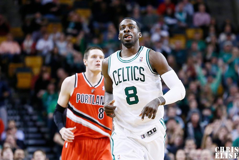 30 November 2012:  Boston Celtics power forward Jeff Green (8) celebrates during the Boston Celtics 96-78 victory over the Portland Trail Blazers at the TD Garden, Boston, Massachusetts, USA.