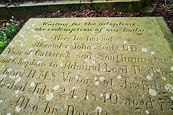 The Grave of Alexander John Scott Doctor of Divinity. Admiral Lord Nelsons long term Naval Chaplain. Scott was with Nelson aboard the flagship HMS Victory at Trafalgar and was the man to whom Lord Nelson spoke his last words. Buried in Saint Mary's Church Yard, Ecclesfield Sheffield. <br />