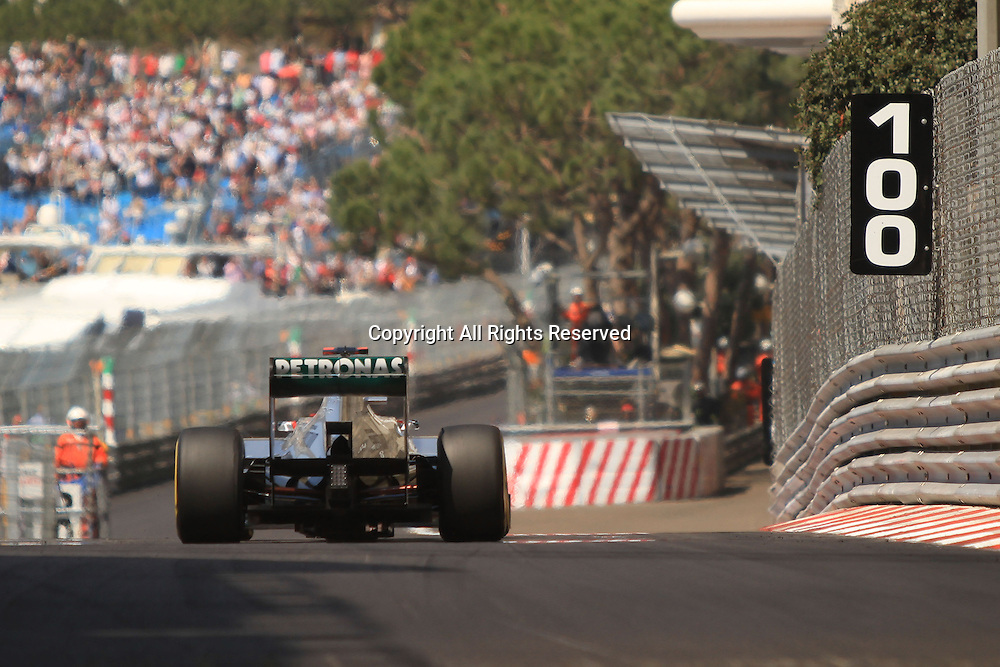 26.05.2012. Monaco, Monote Carlo. Michael Schumacher takes on the streets of Monaco during the final practice session on qualification day.