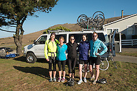 Female Backroads Trip Guests Posing for Photo in Front of Backroads Van at Chanslor Ranch, Bodega Bay, California