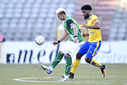February 17, 2018 - Brussels, BELGIUM - Cercle's Queiroz Barcelos Crysan and Union's Jordan Massengo fight for the ball during a soccer game between Union Saint-Gilloise and Cercle Brugge, in Brussels, Saturday 17 February 2018, on day 27 of the division 1B Proximus League competition of the Belgian soccer championship. BELGA PHOTO YORICK JANSENS (Credit Image: © Yorick Jansens/Belga via ZUMA Press)