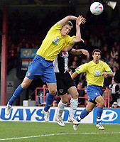 "Photo: Paul Thomas.<br /> Grimsby Town v Hereford United. Coca Cola League 2. 08/10/2006.<br /> <br /> Alan Connell of Hereford ""hand balls"" the goal which would have given Hereford a draw. He is yellow carded for it."