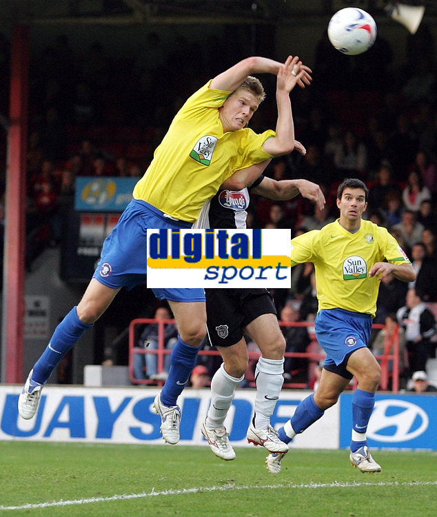 """Photo: Paul Thomas.<br /> Grimsby Town v Hereford United. Coca Cola League 2. 08/10/2006.<br /> <br /> Alan Connell of Hereford """"hand balls"""" the goal which would have given Hereford a draw. He is yellow carded for it."""