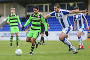 Forest Green Rovers Fabien Robert(26) holds off Chester's Ryan Astles(6)  during the FA Trophy 2nd round match between Chester FC and Forest Green Rovers at the Deva Stadium, Chester, United Kingdom on 14 January 2017. Photo by Shane Healey.