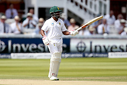 Temba Bavuma of South Africa raises his bat after reaching 50 - Mandatory by-line: Robbie Stephenson/JMP - 08/07/2017 - CRICKET - Lords - London, United Kingdom - England v South Africa - Investec Test Series