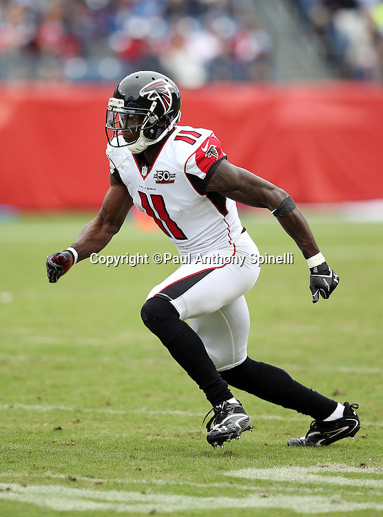 Atlanta Falcons wide receiver Julio Jones (11) goes out for a pass during the 2015 week 7 regular season NFL football game against the Tennessee Titans on Sunday, Oct. 25, 2015 in Nashville, Tenn. The Falcons won the game 10-7. (©Paul Anthony Spinelli)