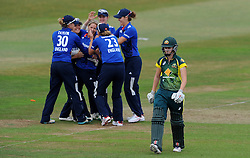 Australia's Jess Johnson walks off after being bowled by England's Katherine Brunt for 5. - Photo mandatory by-line: Harry Trump/JMP - Mobile: 07966 386802 - 21/07/15 - SPORT - CRICKET - Women's Ashes - Royal London ODI - England Women v Australia Women - The County Ground, Taunton, England.