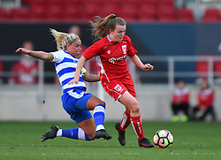 Lauren Hemp of Bristol City Women is tackled by Rachel Furness of Reading Women - Mandatory by-line: Paul Knight/JMP - 22/04/2017 - FOOTBALL - Ashton Gate - Bristol, England - Bristol City Women v Reading Women - FA Women's Super League 1 Spring Series