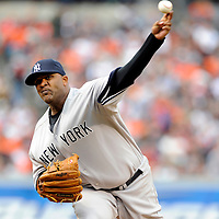 06 April 2009:  New York Yankees starting pitcher CC Sabathia (52) pitches in the 3rd inning against the Baltimore Orioles at Camden Yards in Baltimore, MD.  Sabathia walked five and gave up six earned runs as the Orioles defeated the Yankees 10-5 in the home opener to start the major league regular season.  ****For Editorial Use Only****