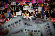 Presidential hopeful Donald J. Trump (R-Ny) campaigns at the Giant Center in Hersey, Pennsylvania, days before he would win the election.