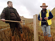 PJ Gallagher, left, and a bound and gagged Andy Mc Sharry put up new fences on Andy's property in Gleniff, Co. Sligo yesterday. Photo: James Connolly/GreenGraph