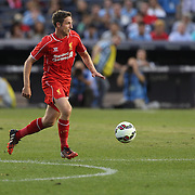 Joe Allen, Liverpool, in action during the Manchester City Vs Liverpool FC Guinness International Champions Cup match at Yankee Stadium, The Bronx, New York, USA. 30th July 2014. Photo Tim Clayton