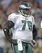 Philadelphia Eagles defensive tackle Hollis Thomas against the St. Louis Rams, at the Edward Jones Dome in St. Louis, Missouri, December 18, 2005.  The Eagles beat the Rams 17-16.