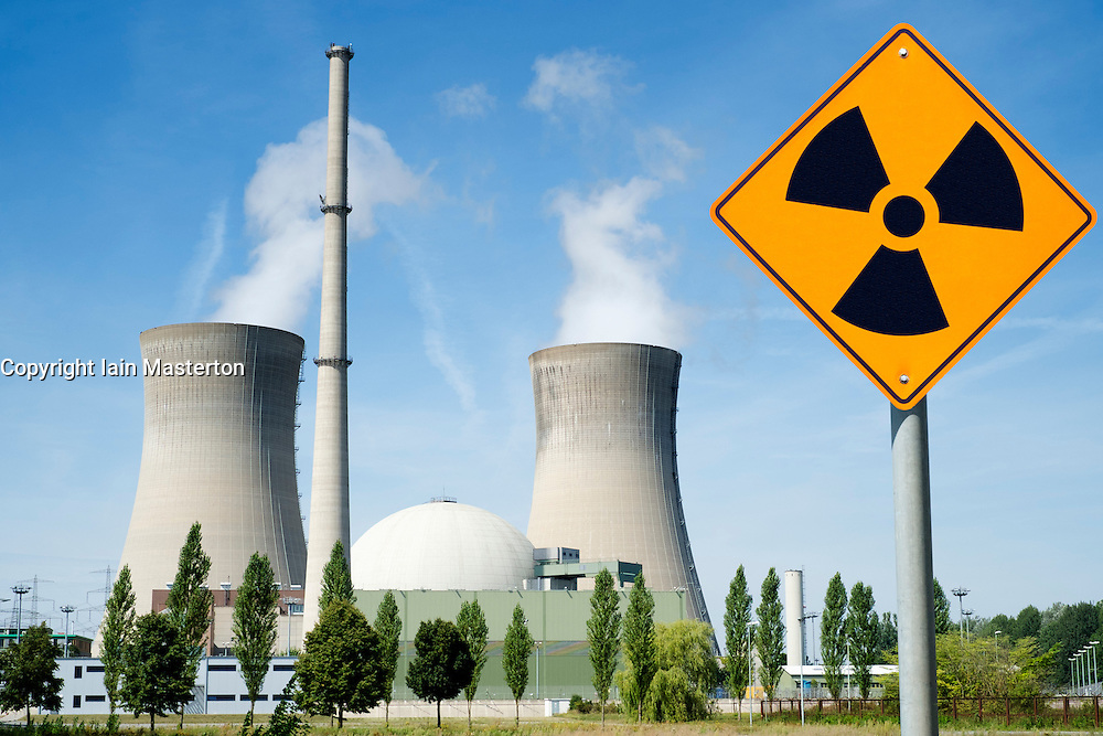 Radiation warning sign at Grafenrheinfeld nuclear power station on Germany (digitally altered image)