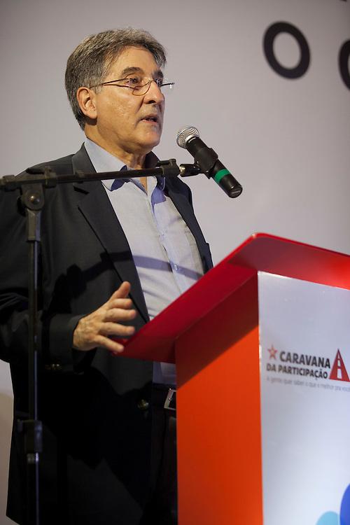 Manhuacu_MG, Brasil.<br /> <br /> Pre-candidato ao governo de Minas Gerais, Fernado Pimentel, discursa para prefeitos e lideranças em Manhuacu.<br /> <br /> Pre-candidate for governor of Minas Gerais, Fernando Pimentel, speaks to mayors and leaders in Manhuacu.<br /> <br /> Foto: ALEXANDRE MOTA / NITRO