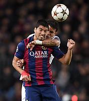 Fotball<br /> UEFA Champions League<br /> Foto: imago/Digitalsport<br /> NORWAY ONLY<br /> <br /> FUSSBALL CHAMPIONS LEAGUE SAISON 2014/2015 Vorrunde FC Barcelona Barca - Paris St. Germain 10.12.2014 Luis Suarez (Barca, vorn) hat es mit Thiago Silva (Paris Saint-Germain), hinten) zu tun