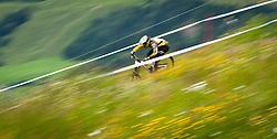 12.06.2011, Bikepark, Leogang, AUT, UCI MOUNTAINBIKE WORLDCUP, LEOGANG, im Bild Feature Downhill Mountainbike, Mitzieher // during the UCI MOUNTAINBIKE WORLDCUP, LEOGANG, AUSTRIA, 2011-06-12, EXPA Pictures © 2011, PhotoCredit: EXPA/ J. Feichter